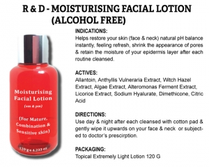 R & D Moisturizing Facial Lotion